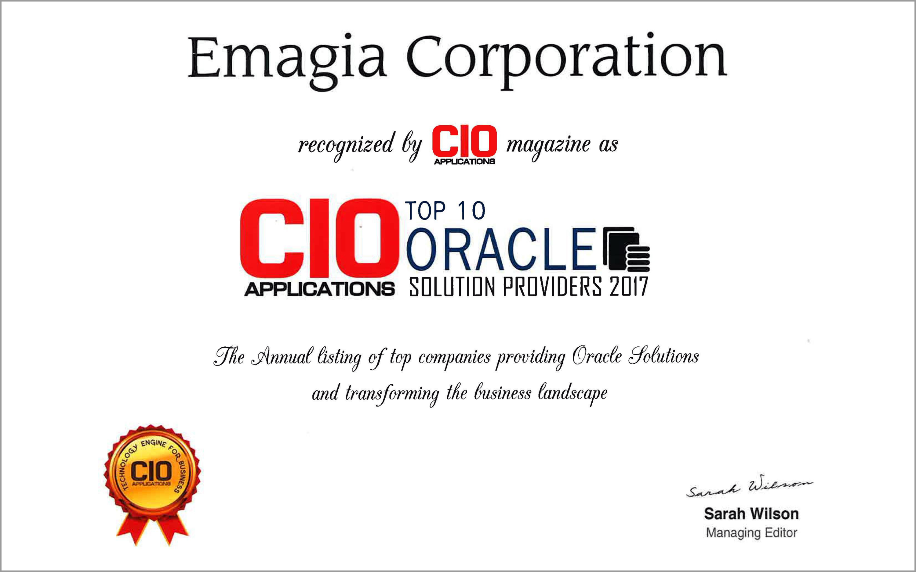 Emagia Named in CIO Applications Top 10 Oracle Solution Providers of 2017